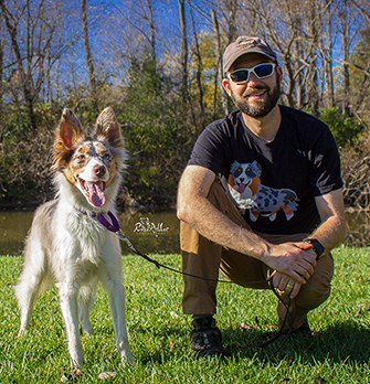 Lowell Zuckerman, dog trainer, with one of his dogs