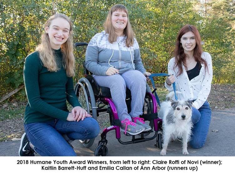 2018 Humane Youth Award Winners Claire Roffi, Kaitlin Barrett-Huff and Emilia Callan